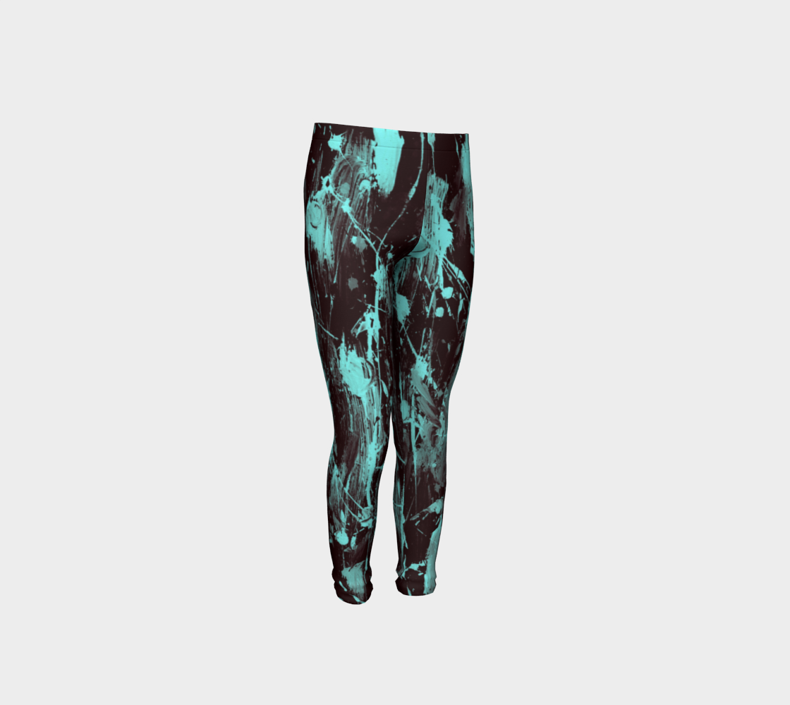 Girls Black and Aqua Feather Splash Pants