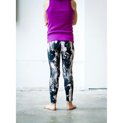 Girls Black and White Feather Splash Pants