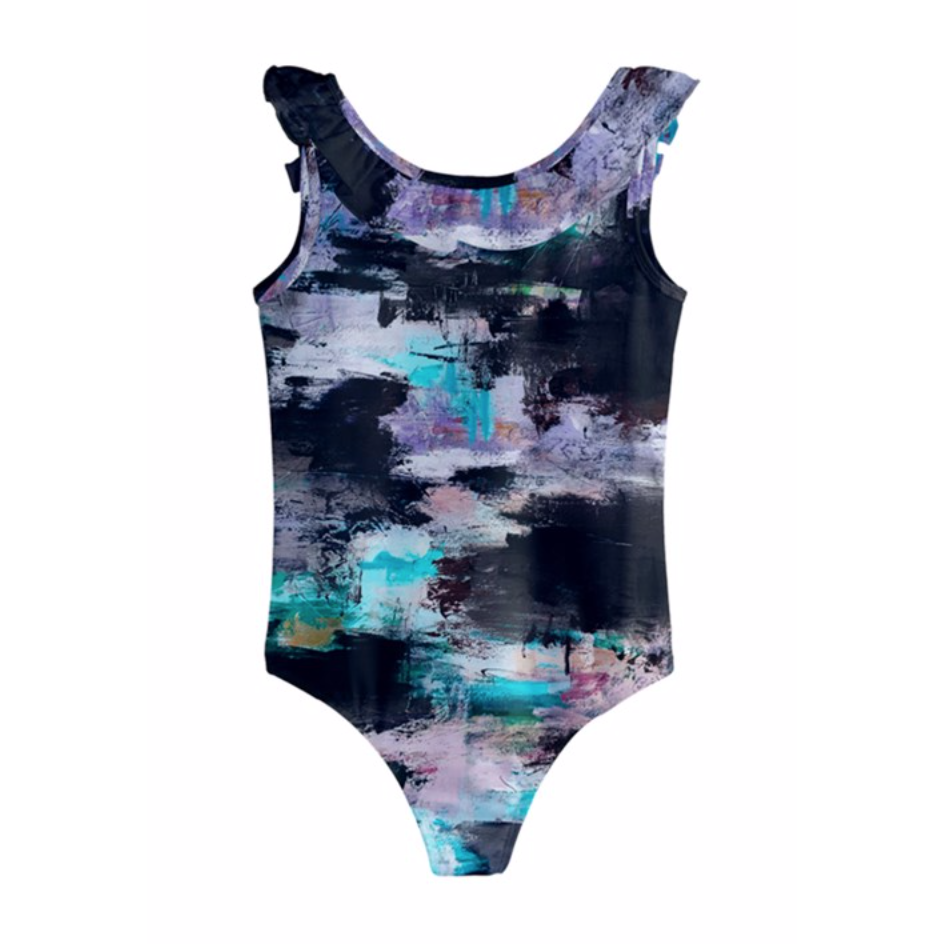 Girls Black Lilac Aqua Swimsuit