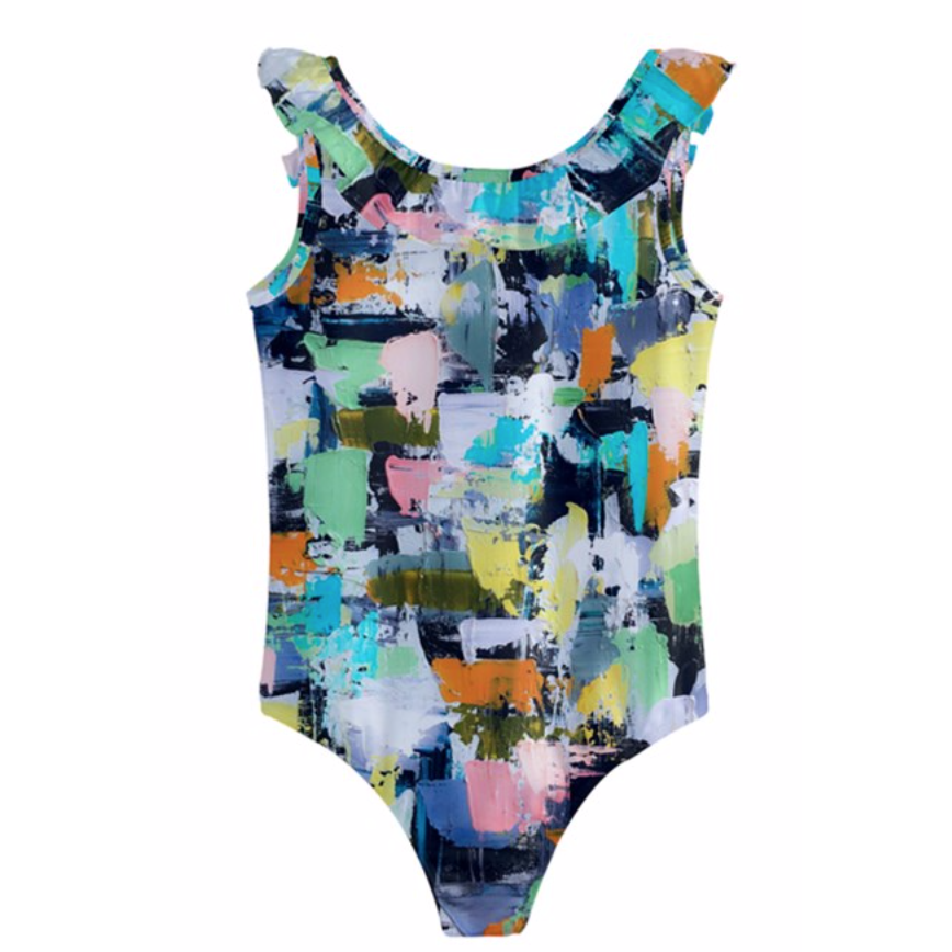 Girls Lemon Aqua Swimsuit