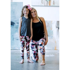Girls Pink Gray Black geometric Pants