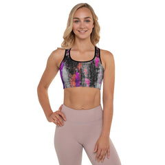 Gray Purple Power Splash Bra Top