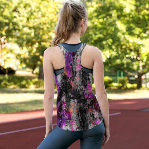 Gray Purple power Splash Women's Racerback Tank