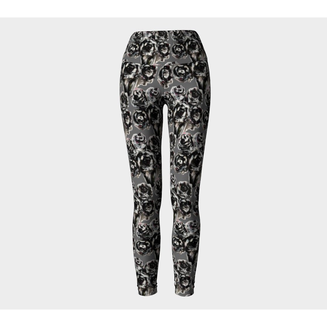 Gray Rose Yoga Leggings