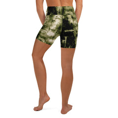 khaki abstract Yoga Shorts