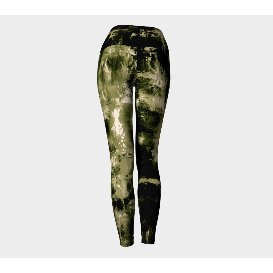 Khaki and Black Racer Stripe Yoga Leggings