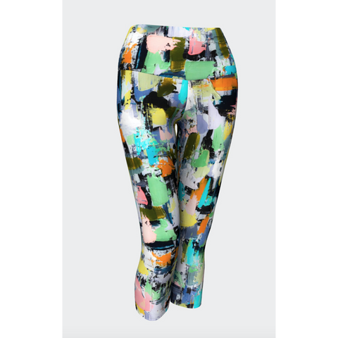 Lemon Aqua Geometric Yoga Capris