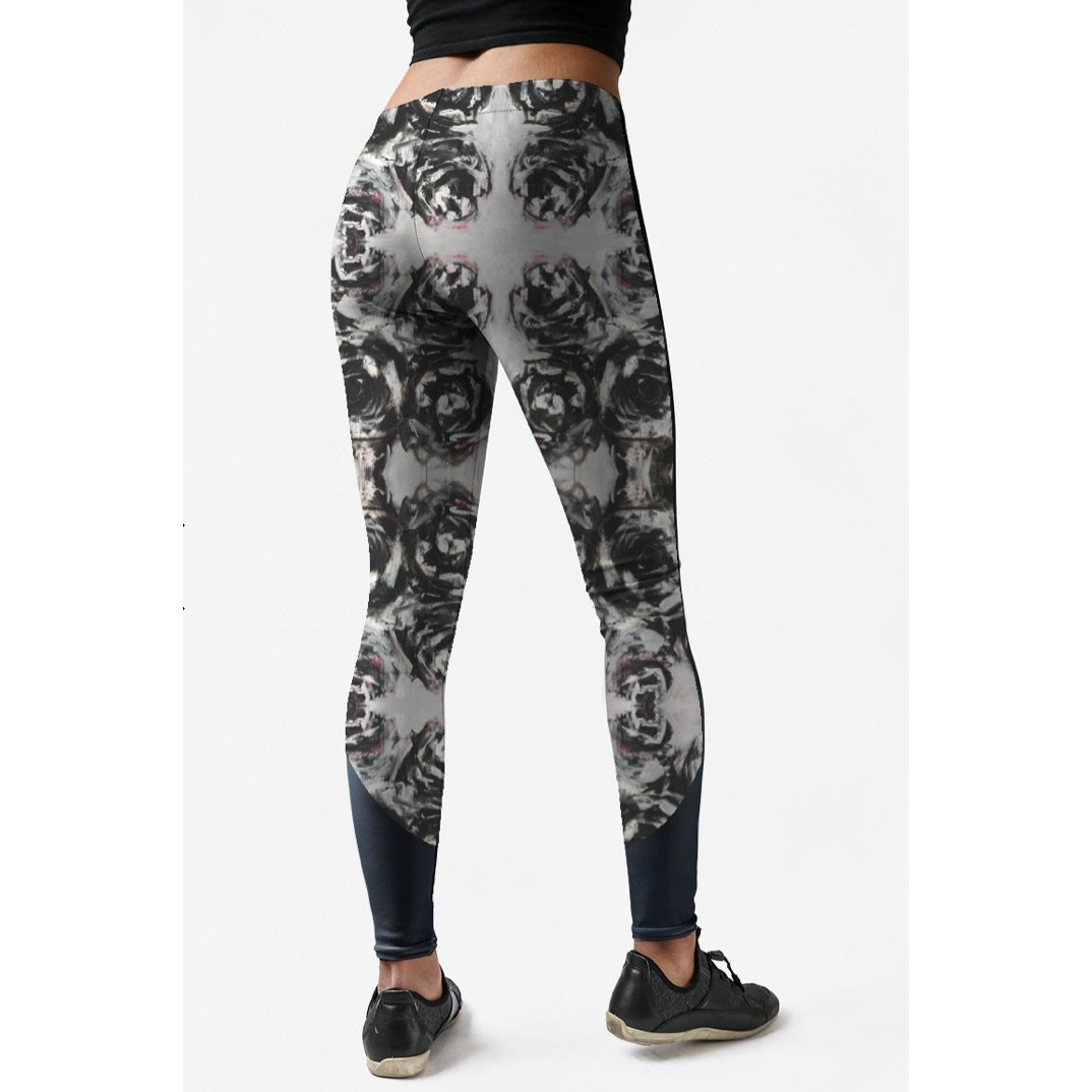 Low Rise Black Rose Mirror Yoga Leggings