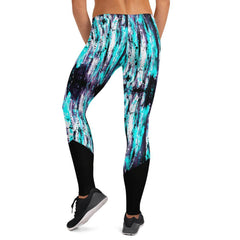 Low Rise Black Stripe Aqua Splash Yoga Leggings
