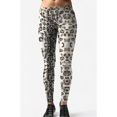 Low Rise White Olive Leopard Yoga Leggings