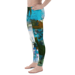 Men's Aqua Abstract Athletic Bottoms