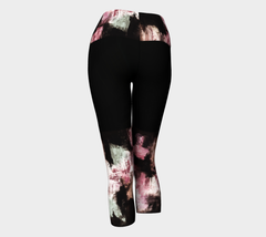 Muted Pink and Black Knee Yoga Capris
