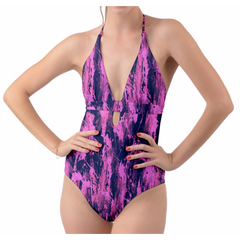 Pink and Blue Feather Splash Halter One Piece