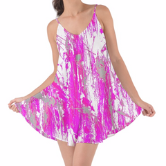 Pink and White Cover up Chiffon Dress