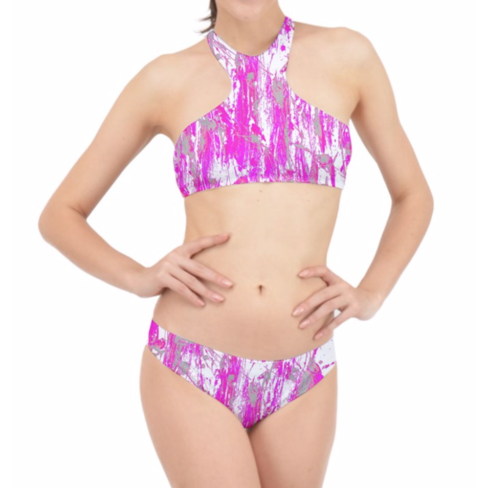 Pink and White Feather Splash Halter Bikini