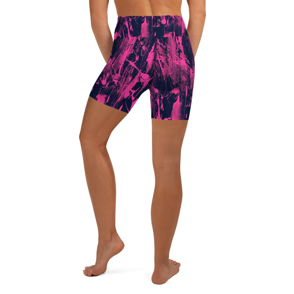 Pink Black Feather Splash Yoga Shorts