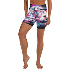 Pink Blue Black Geometric Yoga Shorts