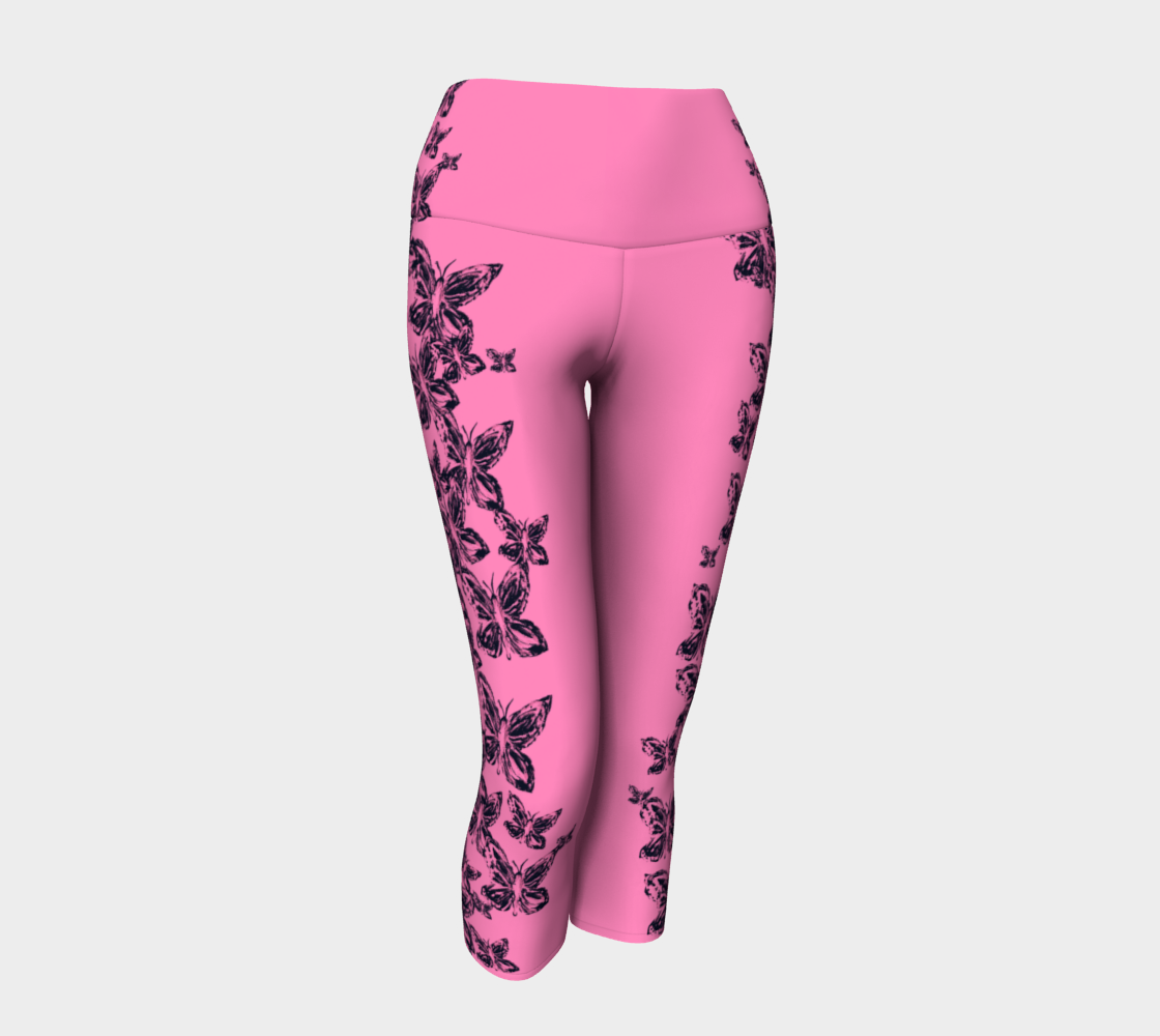 Pink Butterfly for Breast Cancer Awareness Yoga Capris