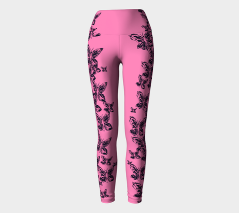 Pink Butterfly for Breast Cancer Awareness Yoga Leggings