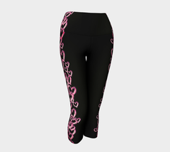 Pink heart Tattoo Breast Cancer Awareness Yoga Capris