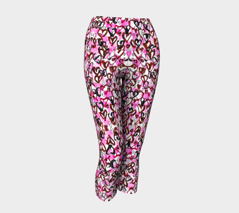 Pink Hearts for Breast Cancer Awareness Yoga Capris