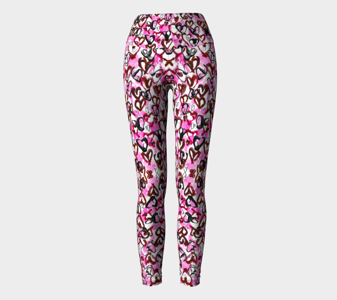 Pink Hearts for Breast Cancer Awareness Yoga Leggings