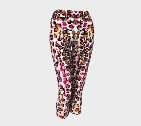 Pink Leopard Breast Cancer Awareness Yoga Capris