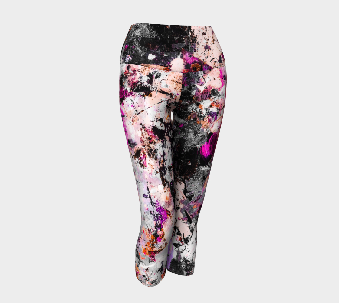 Pink Splatter Breast Cancer Awareness Yoga Capris
