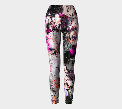 Pink Splatter Breast Cancer Awareness Yoga Leggings