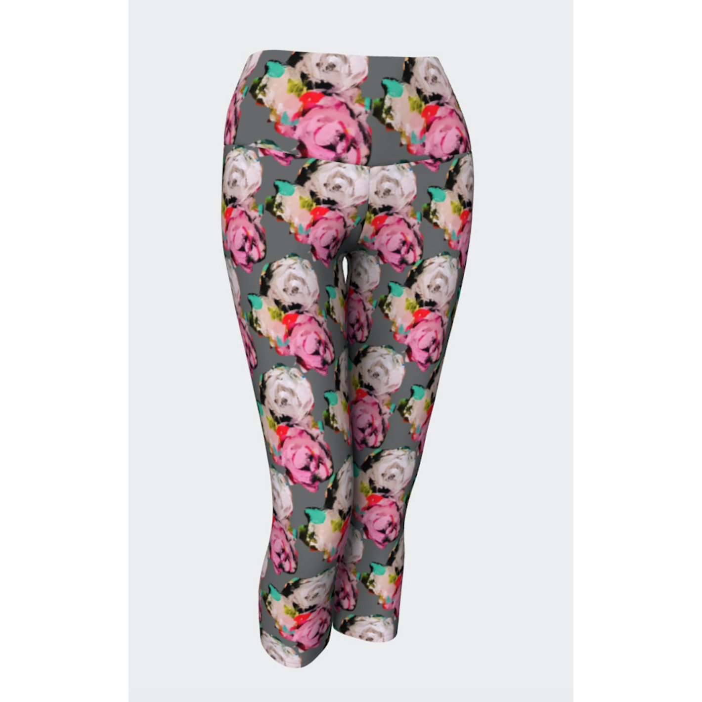 Pink White Rose Yoga Capris