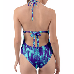 Purple and Aqua Feather Splash Halter One Piece