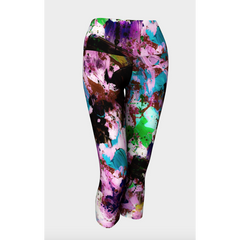 Purple Floral Burst Yoga Capris