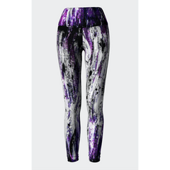 Purple Gray Paint Splash Yoga Leggings