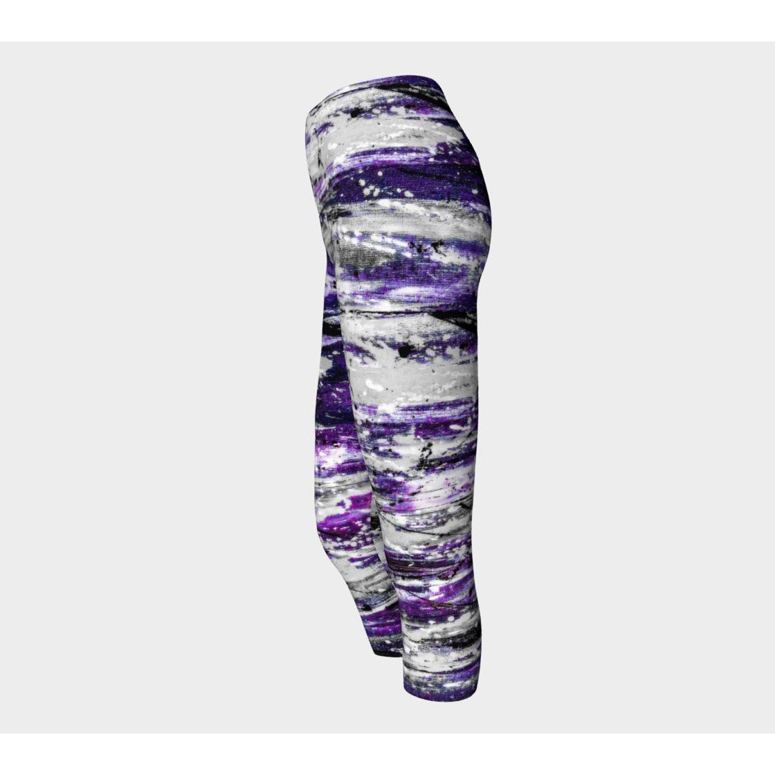 Purple Gray Tiger Yoga Capris