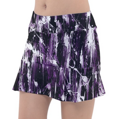 Purple White  Color Splash Tennis Skirt