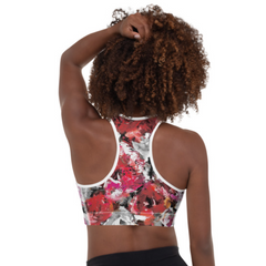 Red Gray Rose Bra Top