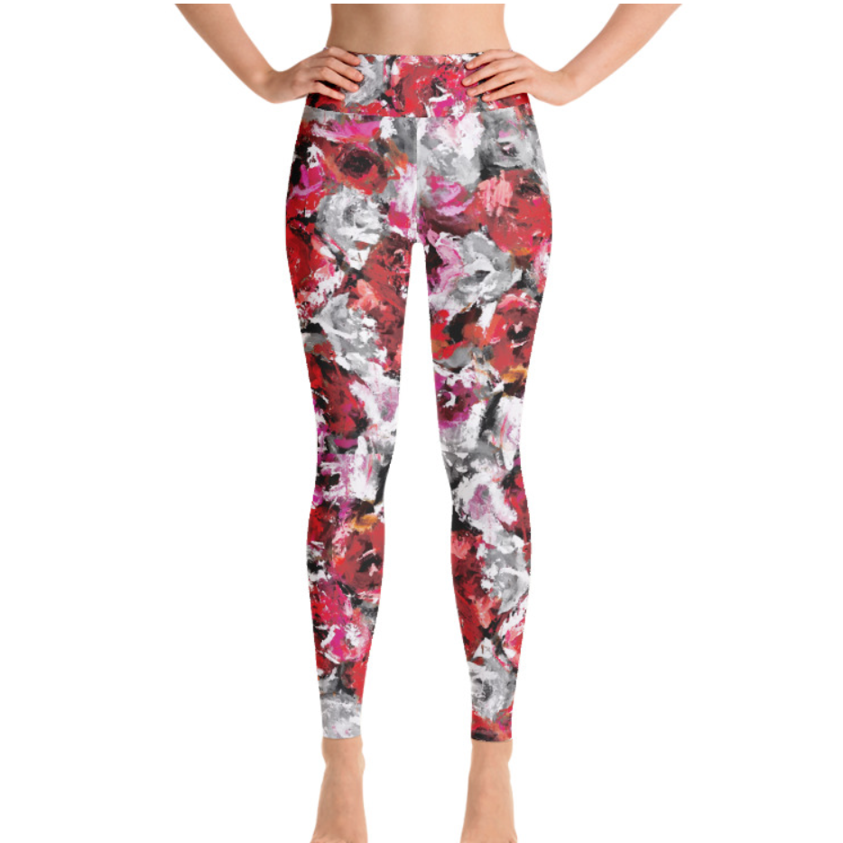 Red Gray Rose Matching Bottoms