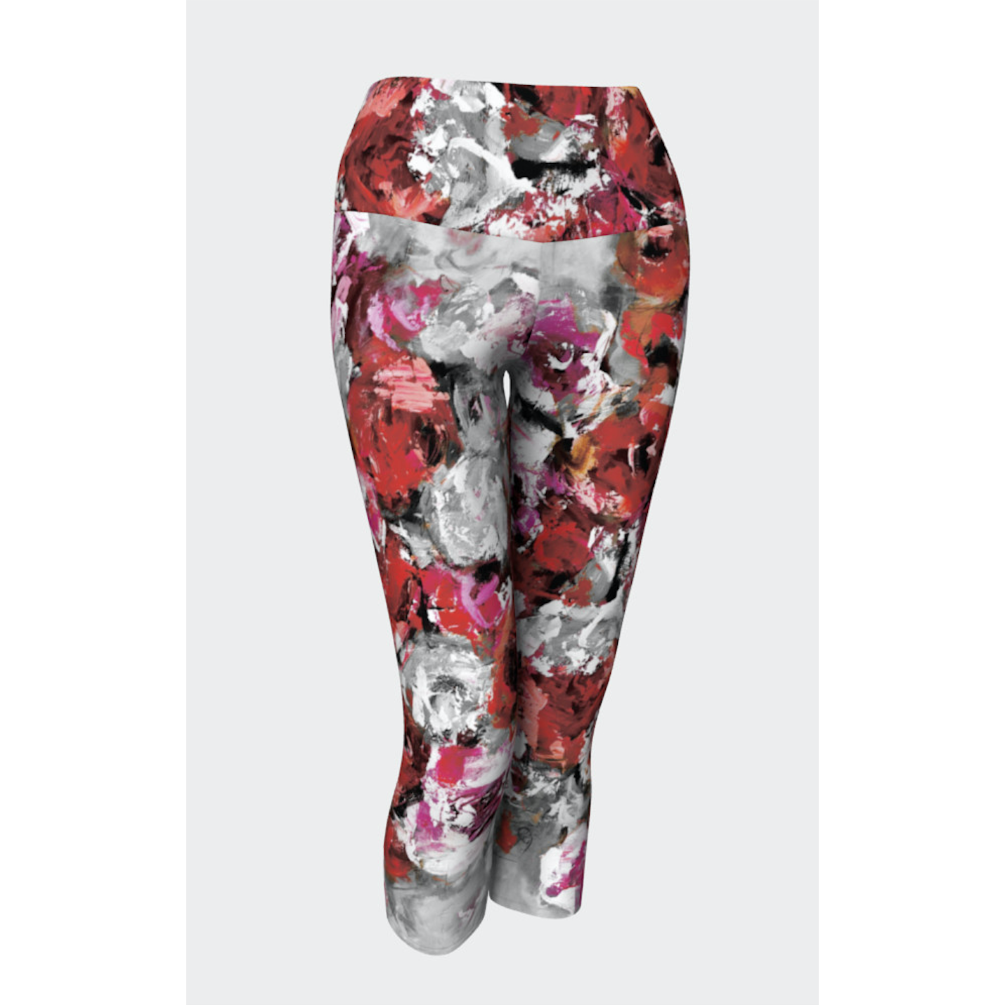 Red Gray Rose Yoga Capris