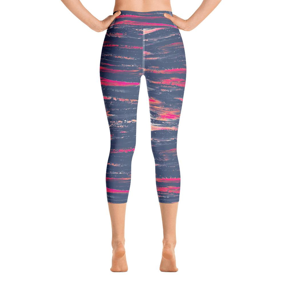 Sunset Horizon Stripe Yoga Capris