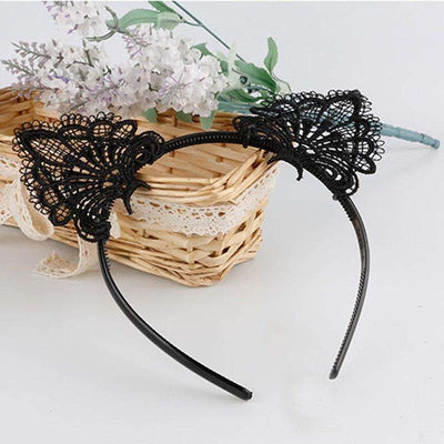 Charlie Buddy - Hand picked products for your dogs and cats-Black Handmade Lace Cat Ears Headband