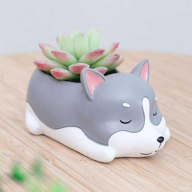 Charlie Buddy - Hand picked products for your dogs and cats-Cartoon Dogs Flower Pots-Huskie