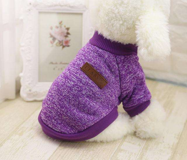 Charlie Buddy - Hand picked products for your dogs and cats-Classic Warm Dog Sweater-Purple / L