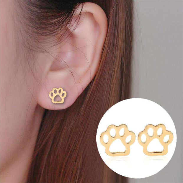 Charlie Buddy - Hand picked products for your dogs and cats-Paw Print Stud Earrings