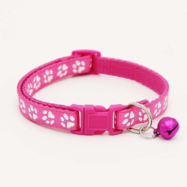 Charlie Buddy - Hand picked products for your dogs and cats-Pet Paw Print Collar with Bell-Pink