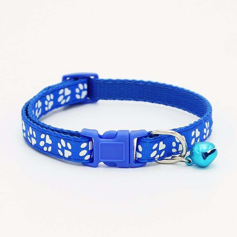 Charlie Buddy - Hand picked products for your dogs and cats-Pet Paw Print Collar with Bell-Blue