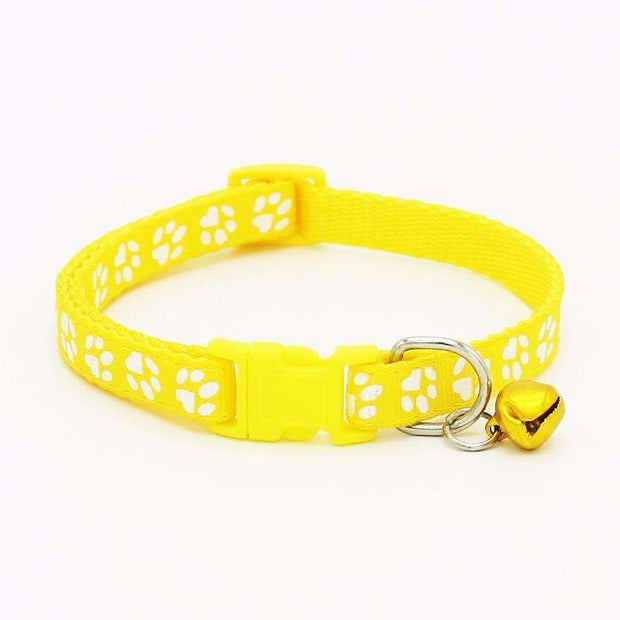 Charlie Buddy - Hand picked products for your dogs and cats-Pet Paw Print Collar with Bell-Yellow