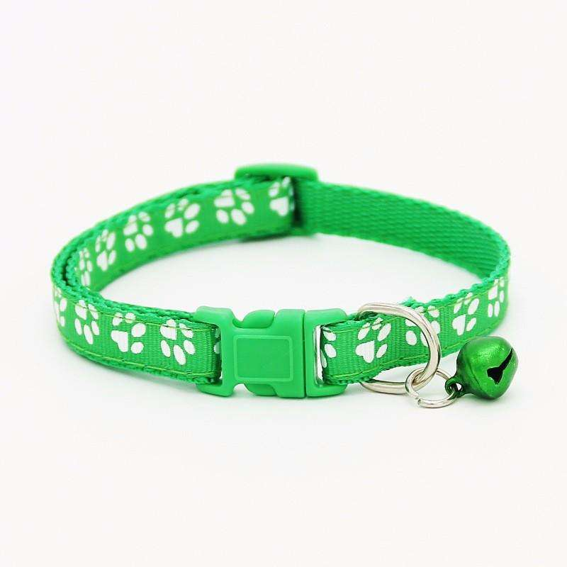 Charlie Buddy - Hand picked products for your dogs and cats-Pet Paw Print Collar with Bell-Green