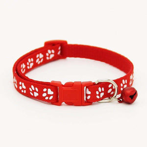 Charlie Buddy - Hand picked products for your dogs and cats-Pet Paw Print Collar with Bell-Red