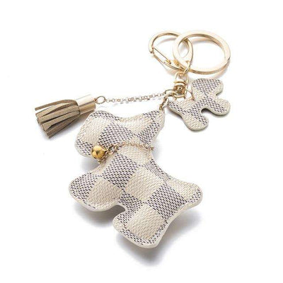 Charlie Buddy - Hand picked products for your dogs and cats-Puppy Dog Leather Key Chain with Tassel-White