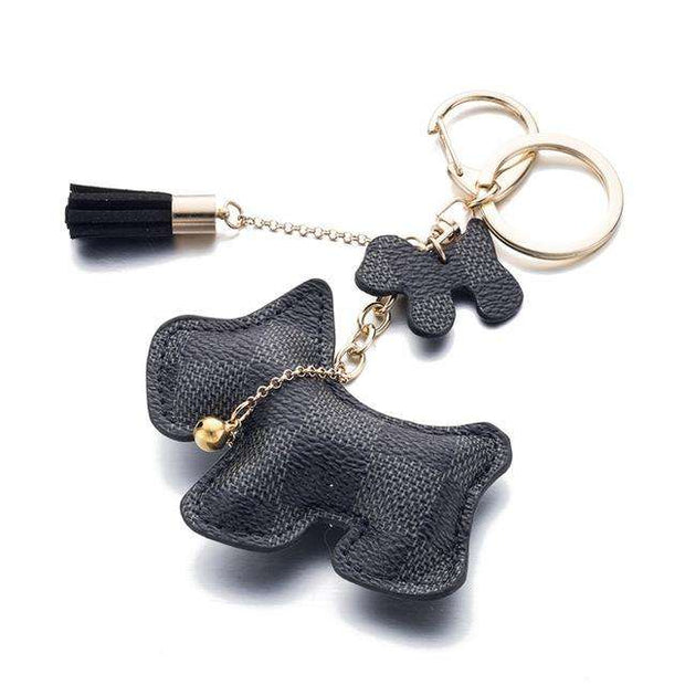 Charlie Buddy - Hand picked products for your dogs and cats-Puppy Dog Leather Key Chain with Tassel-Black